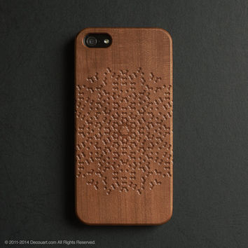 Real wood engraved floral pattern iPhone case S010