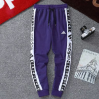 Adidas new fashion string mark letter print sports leisure trousers pants Blue