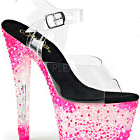 Neon Hot Pink 7 Inch Stripper Shoes With Ankle Strap