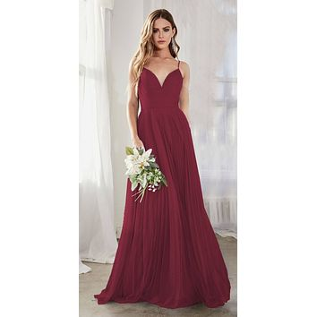 Long A-Line Tulle Dress Burgundy Gathered Sweetheart Neckline Pleated Finish
