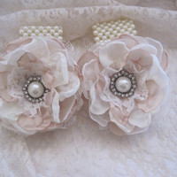 """Wrist Corsage Ivory and Champagne 3 1/2"""" Romantic Rose Pearl Cuff Bracelet Bridesmaid Mother of the Bride Prom with Pearl Rhinestone Accents"""
