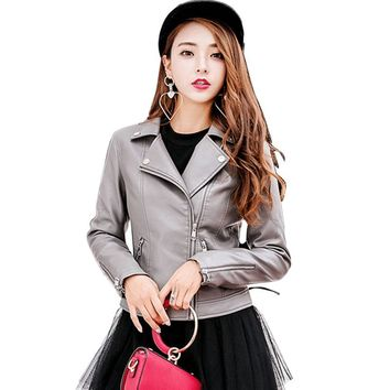Women Leather Jacket For Casual Zippers Women's Fashion Long Sleeves New Autumn Jacket
