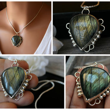 Large Green Flash Labradorite Pendant Necklace, 925 Sterling Silver, Statement Necklace,  Labradorite Jewelry, Pear Shape, Artisan Jewelry