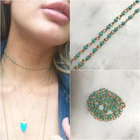 Gold Plated Teal Choker