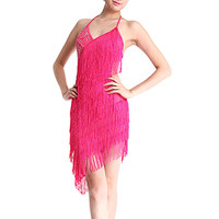 Latin Dance Competition Dresses Chic Women Tiered Tassel Fringe Jazz Age Flapper Evening Dance Dress