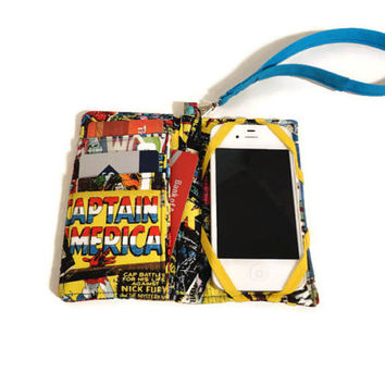 Sale 15% off, Cell Phone Wristlet, iPhone Wallet Wristlet, Cell Phone Case Wristlet made with Marvel Fabric, iPhone Case