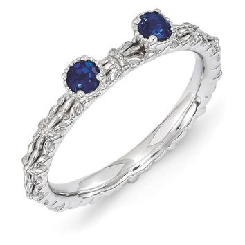 Sterling Silver Stackable Created Sapphire Round Two Stone Ring