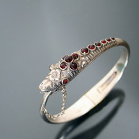 Snake Bracelet Silver 900 And Garnet. Early Victorian Ouroboros Antique Bangle.