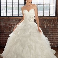 Sweetheart Neckline Handimade Flower with Ruffles Wedding Dress WDSH069 -Shop offer 2012 wedding dresses,prom dresses,party dresses for girls on sale. #Category#