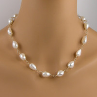 White Freshwater Pearl Nugget Gold Necklace