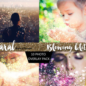 GLITTER BLOWING Photoshop Overlays 10 Pack, photoshop overlay, pixie dust, bokeh effect, glitter overlay, glitter overlays, photography