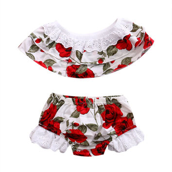 Cute Lace Floral baby clothes set Summer Toddler Infant Baby Girls Outfits Set Kid Top+Bottoms Brief Sunsuit Clothes