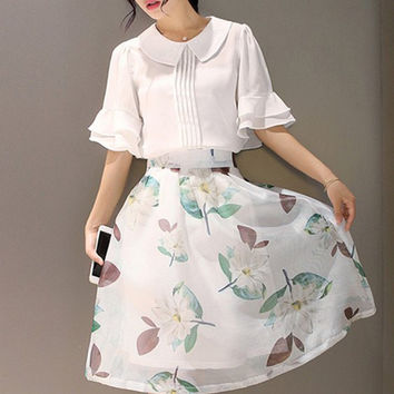 1/2 Sleeve Blouse with Floral Print Skirt