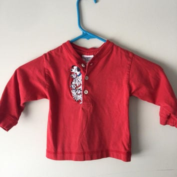 101 Dalmatians Vintage Disney Boys Red Button Down Shirt