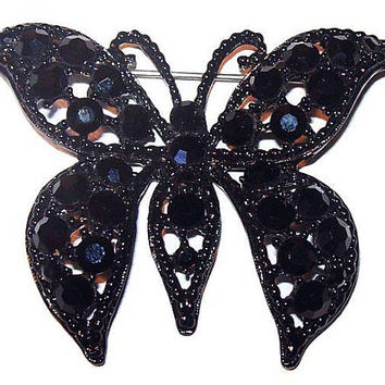 "Weiss Black Butterfly Brooch Rhinestones Signed Japanned Metal 2 1/2"" Vintage"