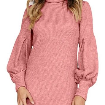Winter Dusty Pink Corduroy Ribbed High Neck Mini Dress