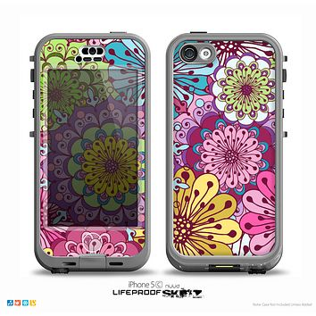 The Colorful Vector Flower Collage Skin for the iPhone 5c nüüd LifeProof Case