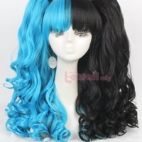 US Warehouse Fast Shipping 50cm/20 Inch Lolita Long Curly Girl Wave Colorful Cosplay Wig 3 Pieces Ponytails Wig Set Full Wigs (Black&blue)