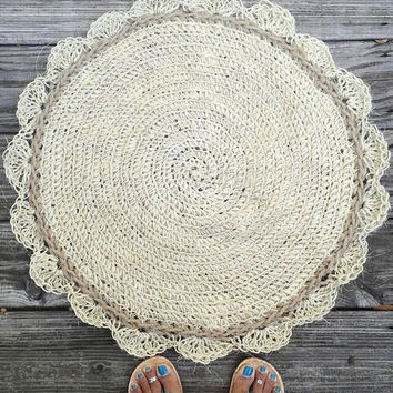 "Jute and Sisal Cord Round Crochet Rug 24"" READY TO SHIP"
