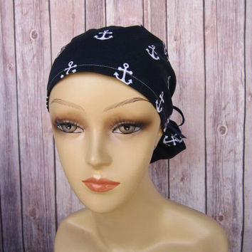 Ponytail Surgical Scrub Caps - Scrub Hat - Scrub Caps - Anchors Away