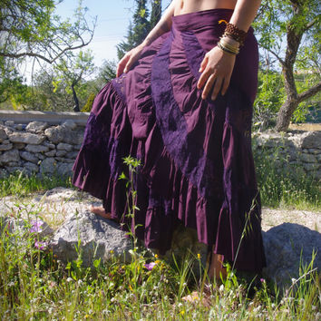 Gypsy Long Cotton Lace Maxi Skirt, Bohemian Skirt, Flamenco Skirt, Burlesque Skirt, Elven Skirt, Festival Skirt, Fairy Skirt, Indian Skirt