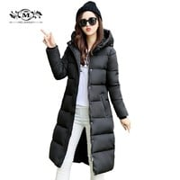 2017 Hooded Down Womens Coat Warm Cotton Padded Parka Slim Fitted Winter Jackets And Coats Female Manteau Femme Down Parka Coat
