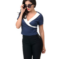 Collectif Navy & White Nautical Faux Wrap Doreen Top