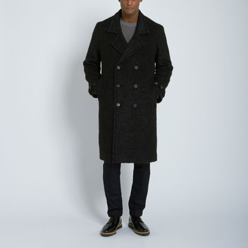 Nahariya Double Breasted Wool Overcoat in Black