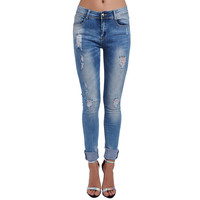 HIGH WAIST SKINNY JEANS WITH DISTRESSING