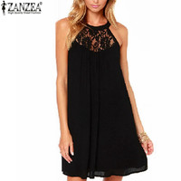 Zanzea Summer Women Sexy Lace Patchwork Chiffon Mini Dress Sleeveless Casual Loose Party Dresses Vestidos Plus Size S-XXXL