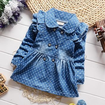 Trendy New Spring Fall Kid Girls Lovely Denim Jacket Children Toddler Casual Trench Coat Outwear Overcoat for Little Girl AT_94_13