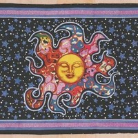 Handmade Smiling Sun Moon Star Divine Spiritual Yoga Tapestry Cotton Tablecloth Coverlet