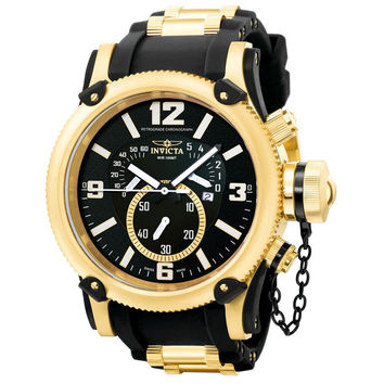 Invicta 5670 Men's Russian Diver Gold Tone Black Rubber Strap Chronograph Watch