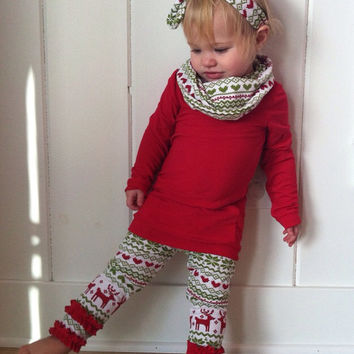 Christmas Red Tunic Shirt with Cowl Neck! Red Green FairIsle Reindeer Pattern around neck to create infinity scarf look! Toddler Girl