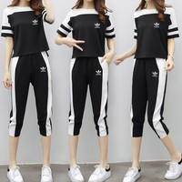 """Adidas"" Women Sport Casual Fashion Multicolor Stripe Short Sleeve Set Two-Piece Sportswear"