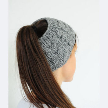 Grey Cable Knit Headband,Ear Warmer, Fall Hair Band, Grey Headband