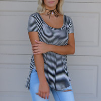 Killing Time Black And White Striped Top