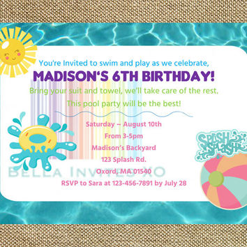Pool Party Invitation, Pool Birthday Invite, Pool Party, Splish Splash Invite, Printable Girl's Birthday, DIY, 5x7 (Digital File)