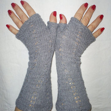 long fingerless gloves. Thick knit jersey. very warm