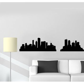 Vinyl Wall Decal  Big City Silhouette Skyscraper Skyline Room Decor Stickers Mural (g198)