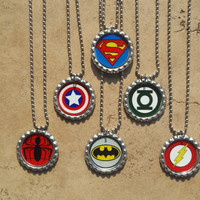 Set of 6 Super Hero Party Favors - Spiderman, Captain America, Superman, Batman, Flash, Green Lantern - Bottle Cap Necklaces OR Zipper Pulls