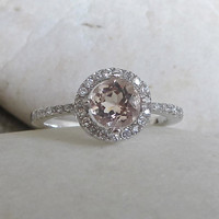 CZ Morganite Engagement Ring- Halo Ring- Promise Ring- Round Stone Ring- Anniversary Ring- Gemstone Ring- Rings for Her- Morganite Ring
