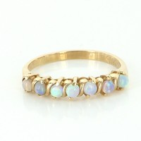 Opal Stack Band Ring Sz 7.25 Vintage 14 Karat Yellow Gold Estate Fine Jewelry