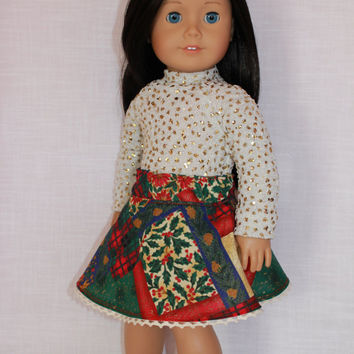 18 inch doll clothes, Christmas print skater skirt, ivory sparkle shirt, american girl, Maplelea