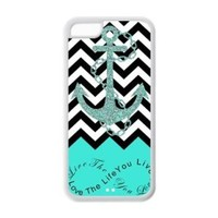 iPhone 5C Case - Turquoise Infinity Chevron with Anchor Live the Life You Love, Love the Life You Live Apple iPhone 5C (Cheap IPhone5) Waterproof TPU Back Cases Covers