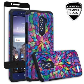 ZTE ZMAX Pro Case, ZTE Blade X Max, ZTE Carry, [Include Temper Glass Screen Protector] Slim Hybrid Dual Layer Armor[Shock Absorbent] Case for ZMAX Pro - Rainbow Flower