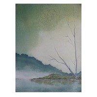 Watercolor Landscape Painting, Watercolor Lake, Painting of Trees, Woodland Watercolor, Landscape, Forest Landscape, Mountain Painting