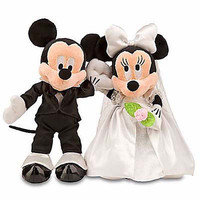 disney parks mickey & minnie wedding set groom & bride plush new with tag