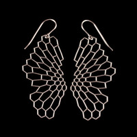 Radiolaria Earrings - stainless steel earrings, geometric, intricate, hexagons, lace, mesh, nature, cellular