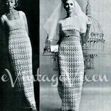 "RARE Vintage CROCHET Pattern 60s Wedding Gown and Bolero is a Gorgeous Maxi Dress & Short Jacket 34 36 38"" bust INSTANT Download Pdf"